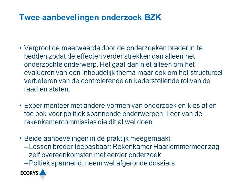 Twee aanbevelingen onderzoek BZK
