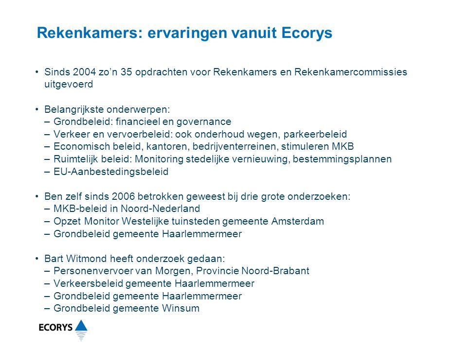 Rekenkamers: ervaringen vanuit Ecorys