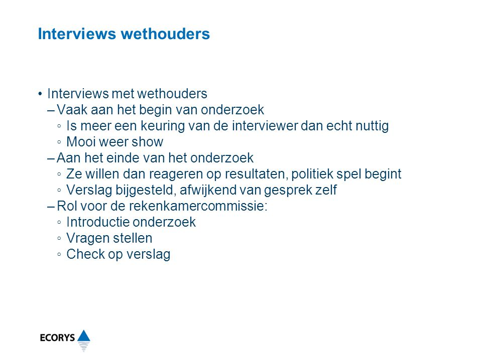 Interviews wethouders