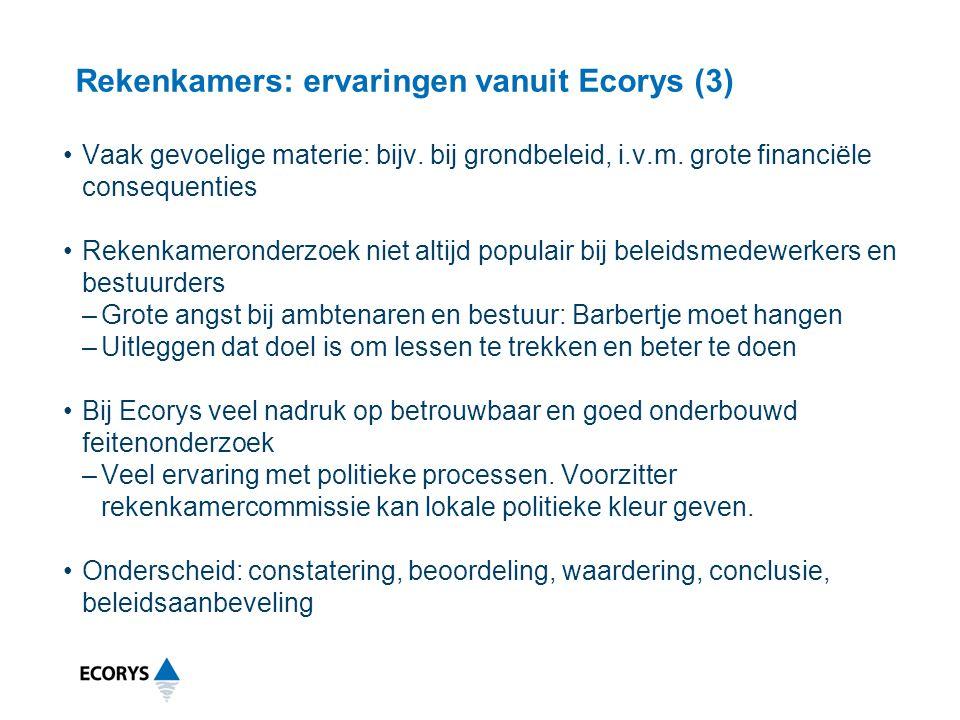 Rekenkamers: ervaringen vanuit Ecorys (3)