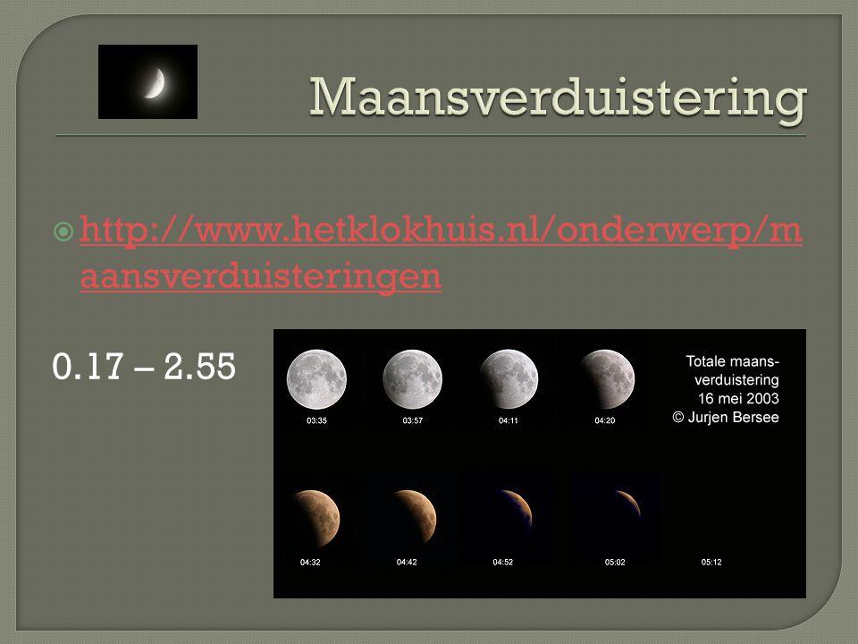Maansverduistering http://www.hetklokhuis.nl/onderwerp/maansverduisteringen 0.17 – 2.55