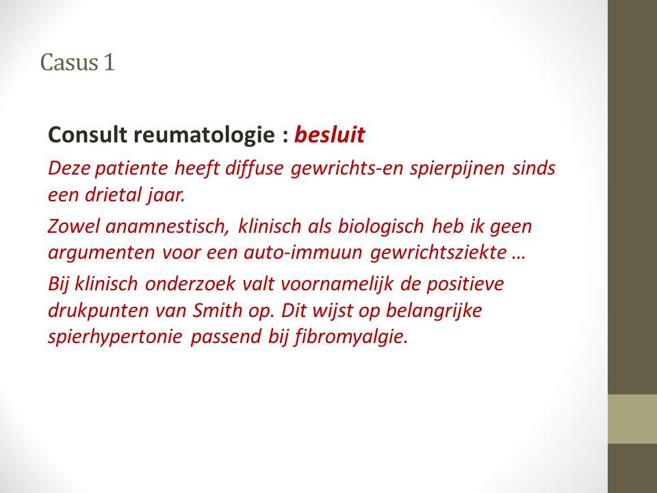 Consult reumatologie : besluit