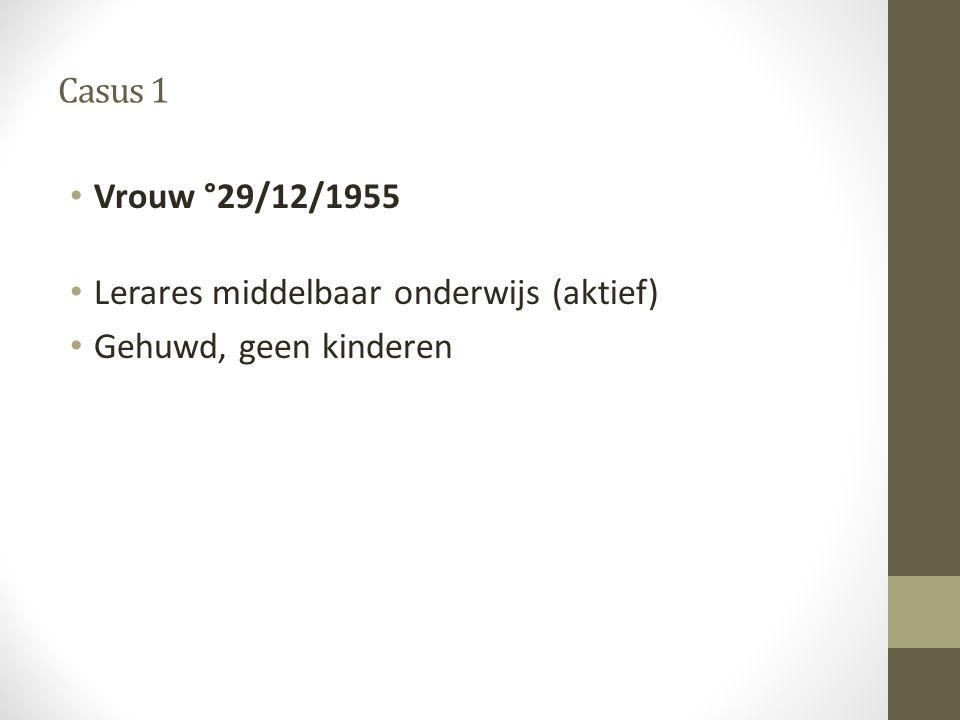 Casus 1 Vrouw °29/12/1955 Lerares middelbaar onderwijs (aktief) Gehuwd, geen kinderen