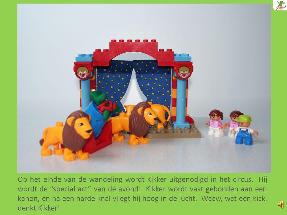 Op het einde van de wandeling wordt Kikker uitgenodigd in het circus