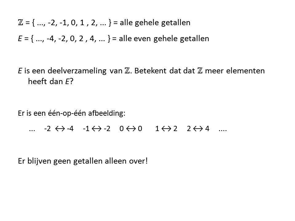 ℤ = { ..., -2, -1, 0, 1 , 2, ... } = alle gehele getallen