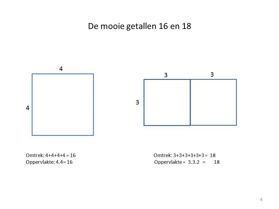 De mooie getallen 16 en 18 4. 3. 3. 3. 4.