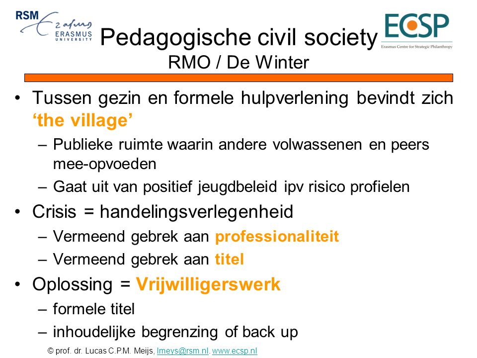 Pedagogische civil society RMO / De Winter
