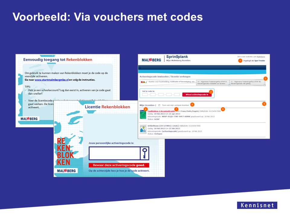 Voorbeeld: Via vouchers met codes