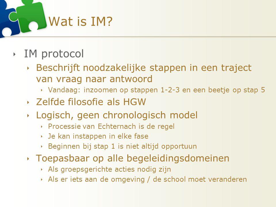 Wat is IM IM protocol. Beschrijft noodzakelijke stappen in een traject van vraag naar antwoord.