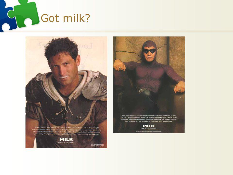 Got milk Voorbeeld evaluatieve conditionering melk US