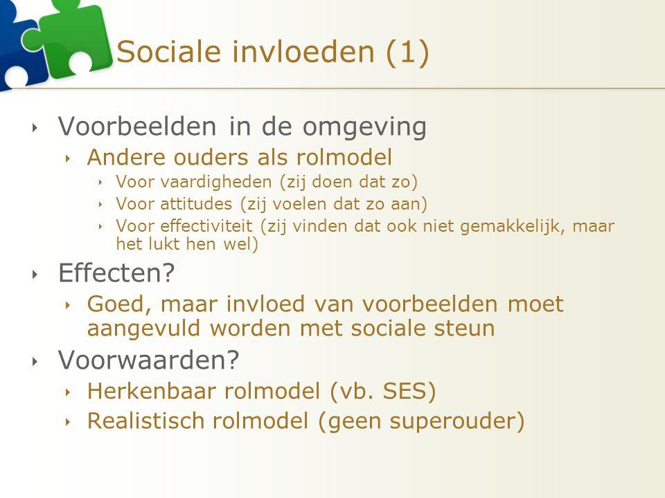 Sociale invloeden (1) Voorbeelden in de omgeving Effecten