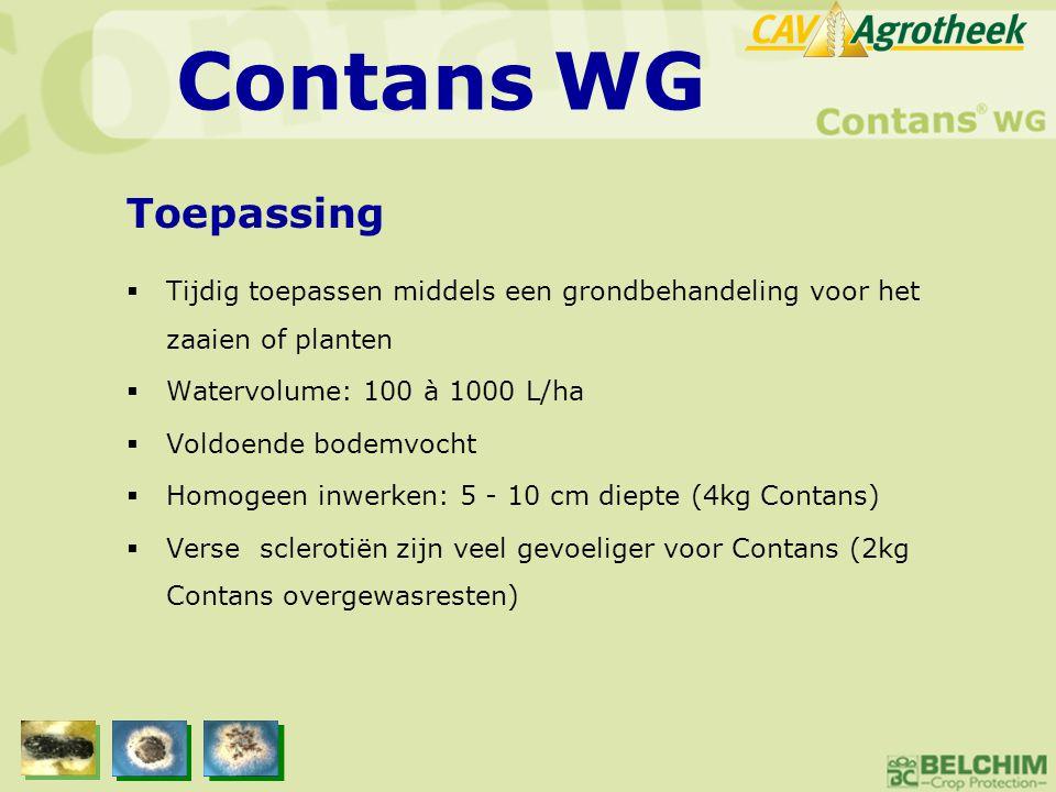 Contans WG Toepassing. Tijdig toepassen middels een grondbehandeling voor het zaaien of planten. Watervolume: 100 à 1000 L/ha.