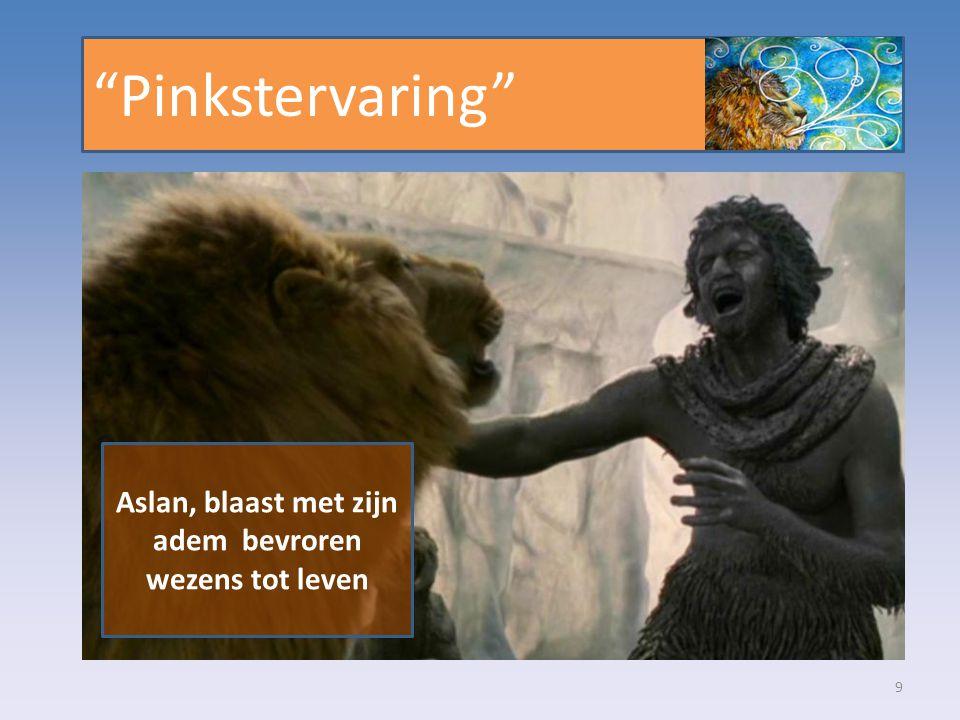 Aslan, blaast met zijn adem bevroren wezens tot leven
