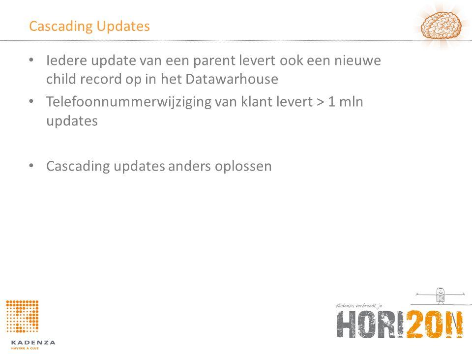 Cascading Updates Iedere update van een parent levert ook een nieuwe child record op in het Datawarhouse.