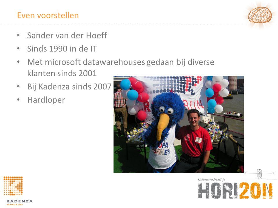 Even voorstellen Sander van der Hoeff. Sinds 1990 in de IT. Met microsoft datawarehouses gedaan bij diverse klanten sinds 2001.