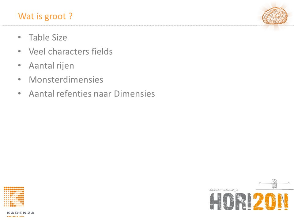 Wat is groot . Table Size. Veel characters fields.