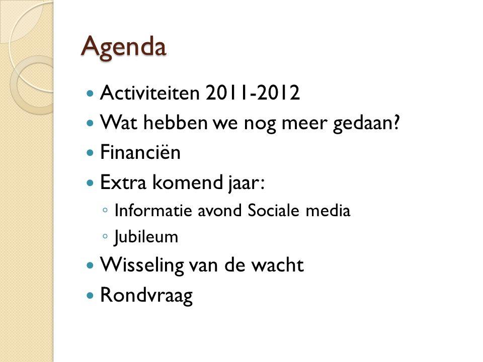 Agenda Activiteiten 2011-2012 Wat hebben we nog meer gedaan Financiën