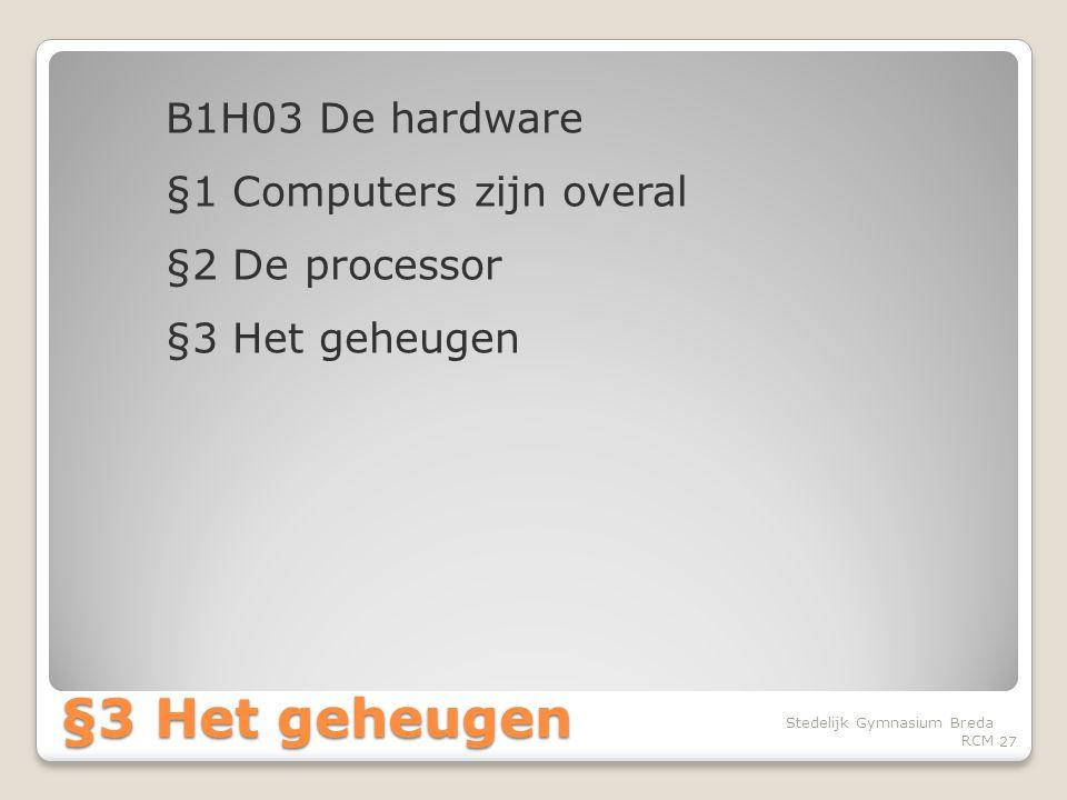B1H03 De hardware §1 Computers zijn overal §2 De processor §3 Het geheugen
