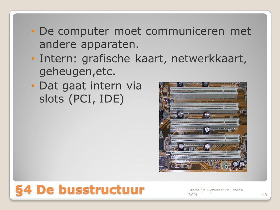 §4 De busstructuur De computer moet communiceren met andere apparaten.