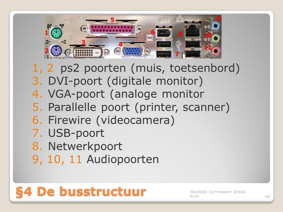 §4 De busstructuur 1, 2 ps2 poorten (muis, toetsenbord)