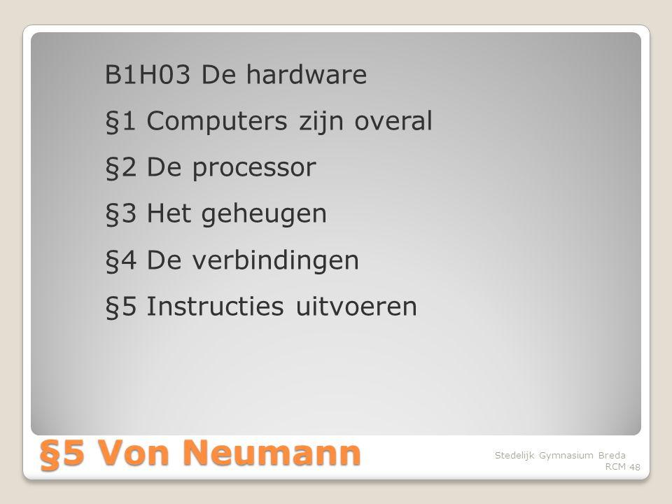 B1H03 De hardware §1 Computers zijn overal §2 De processor §3 Het geheugen §4 De verbindingen §5 Instructies uitvoeren