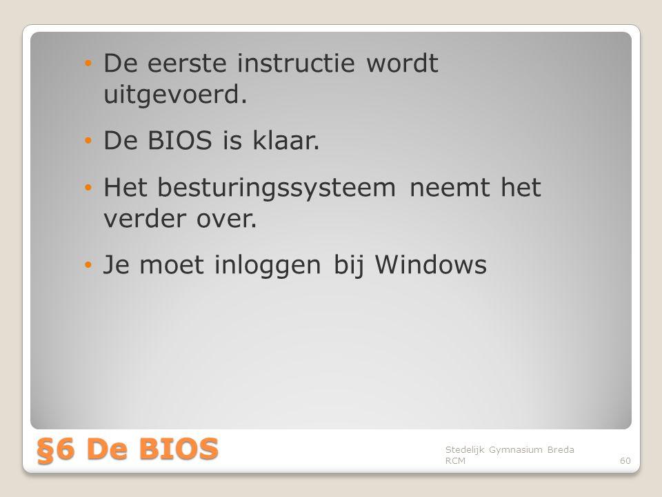 §6 De BIOS De eerste instructie wordt uitgevoerd. De BIOS is klaar.