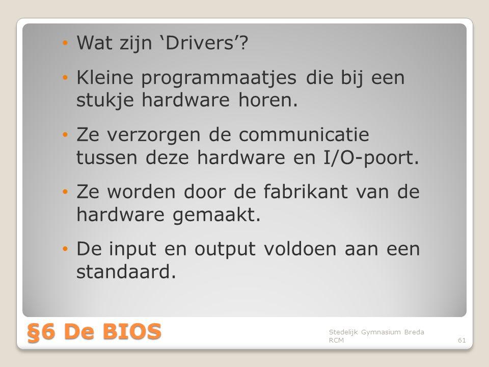 §6 De BIOS Wat zijn 'Drivers'