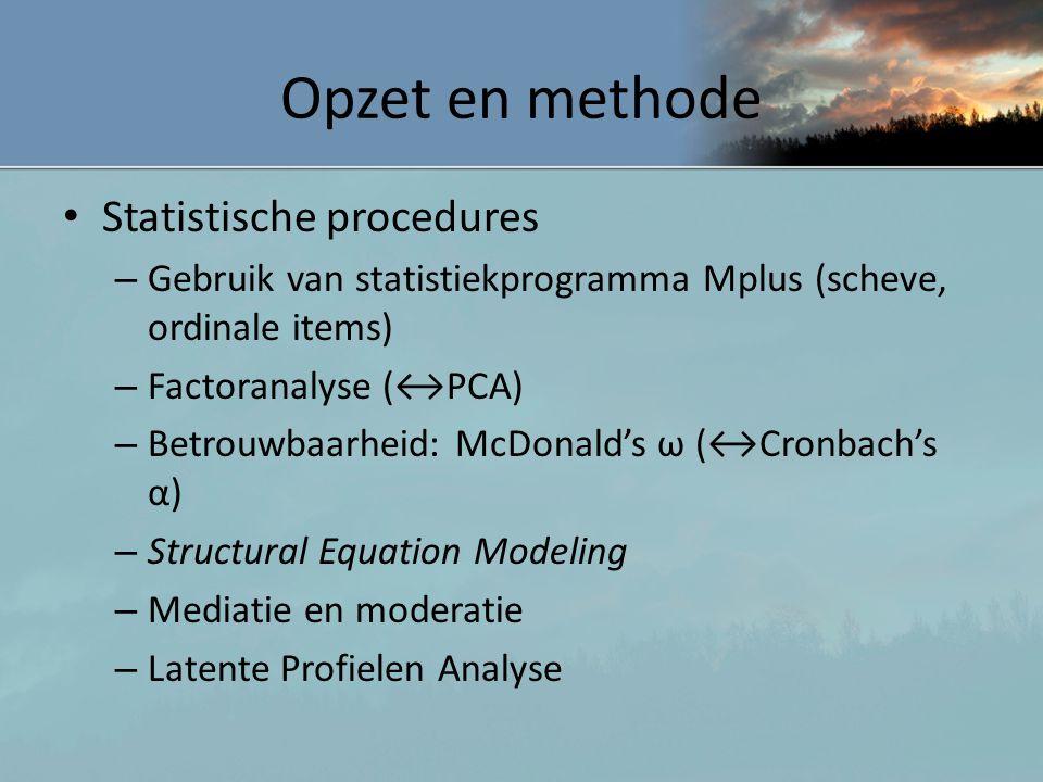 Opzet en methode Statistische procedures