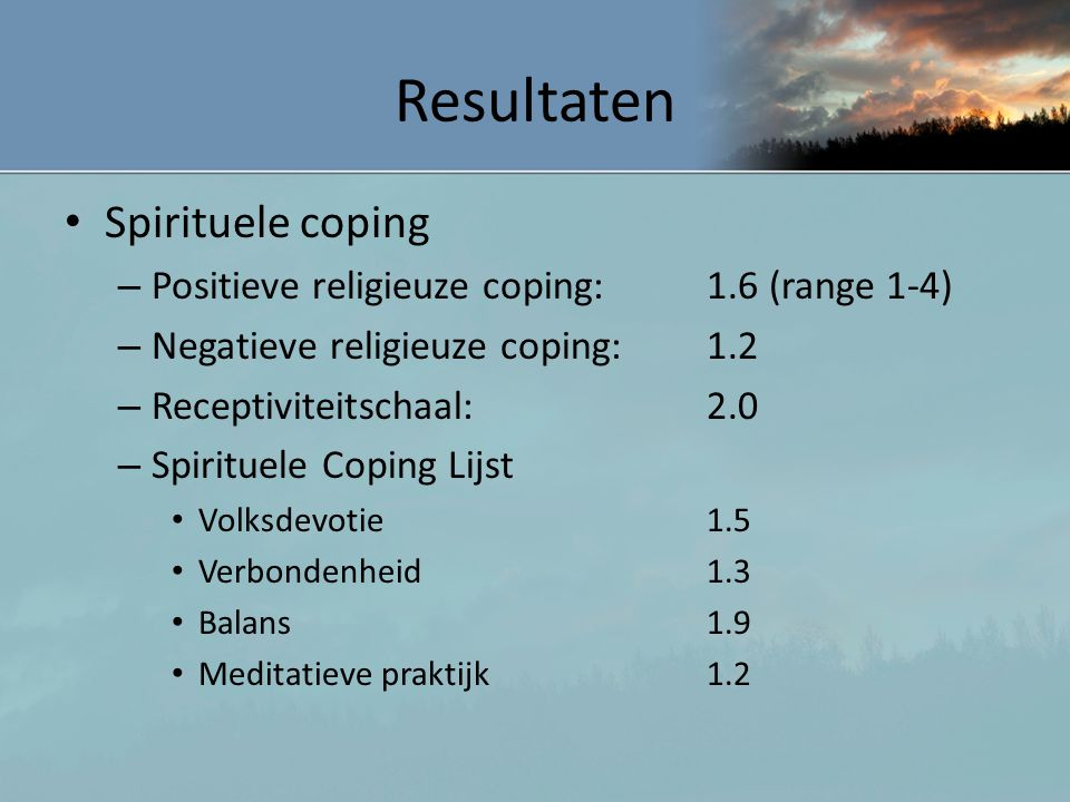 Resultaten Spirituele coping