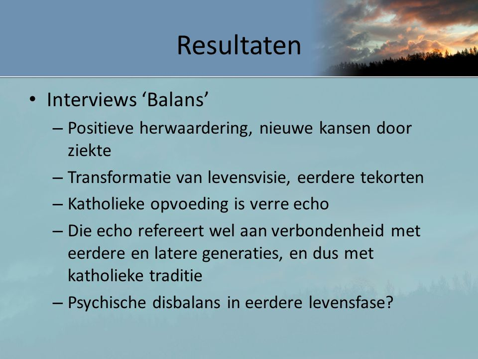 Resultaten Interviews 'Balans'