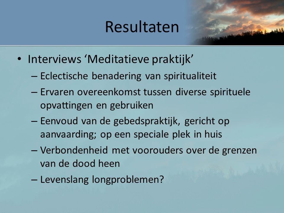 Resultaten Interviews 'Meditatieve praktijk'