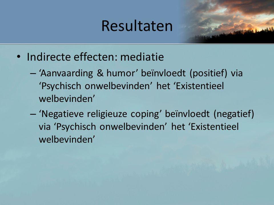 Resultaten Indirecte effecten: mediatie