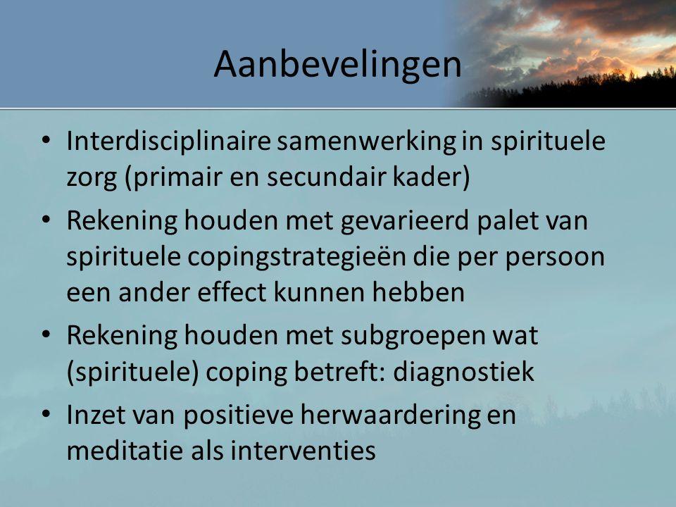 Aanbevelingen Interdisciplinaire samenwerking in spirituele zorg (primair en secundair kader)