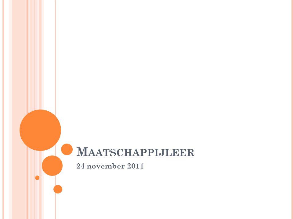 Maatschappijleer 24 november 2011