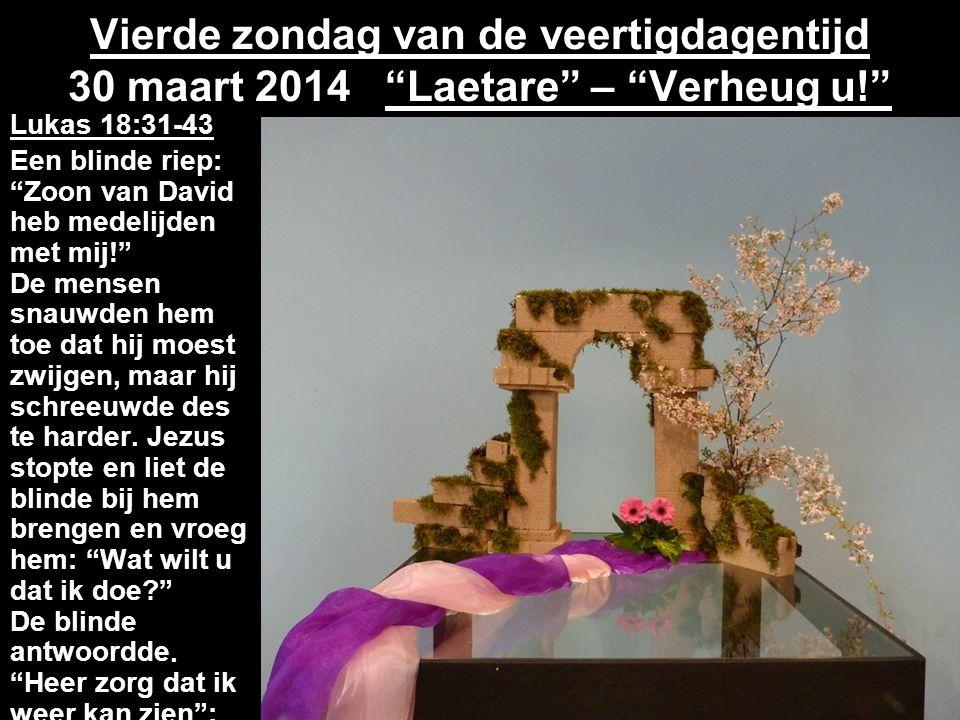 Vierde zondag van de veertigdagentijd 30 maart 2014 Laetare – Verheug u!