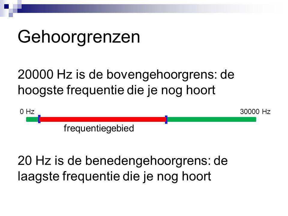 Gehoorgrenzen 20000 Hz is de bovengehoorgrens: de hoogste frequentie die je nog hoort. 0 Hz. 30000 Hz.