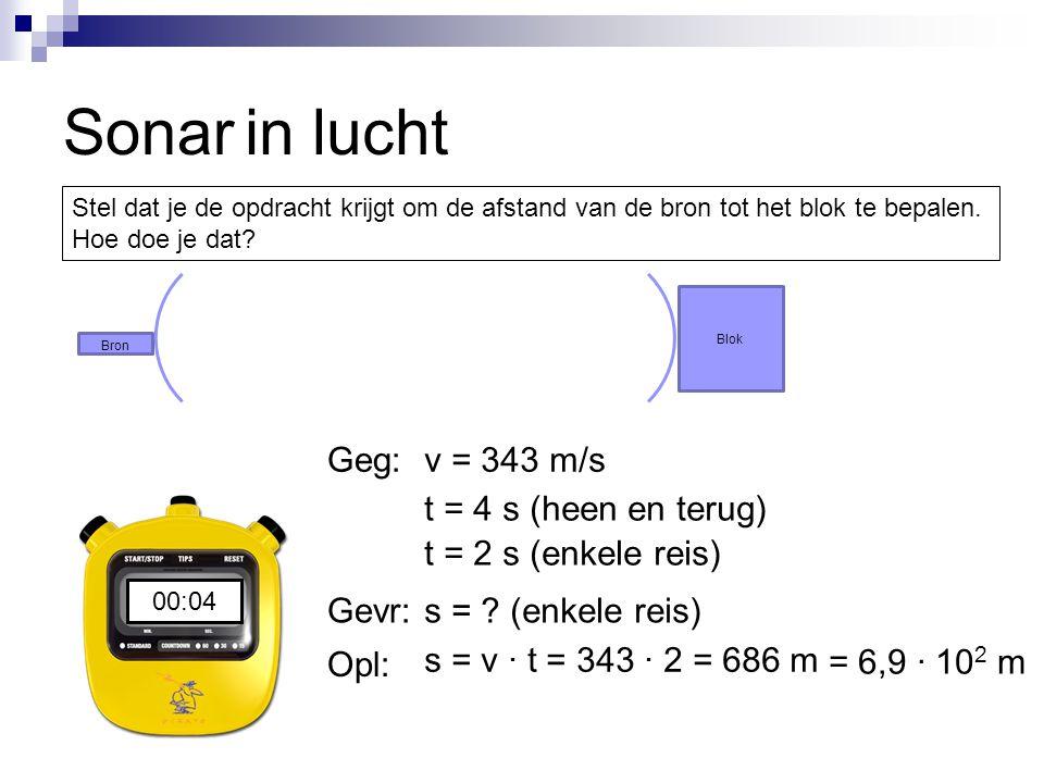 Sonar in lucht Geg: v = 343 m/s t = 4 s (heen en terug)