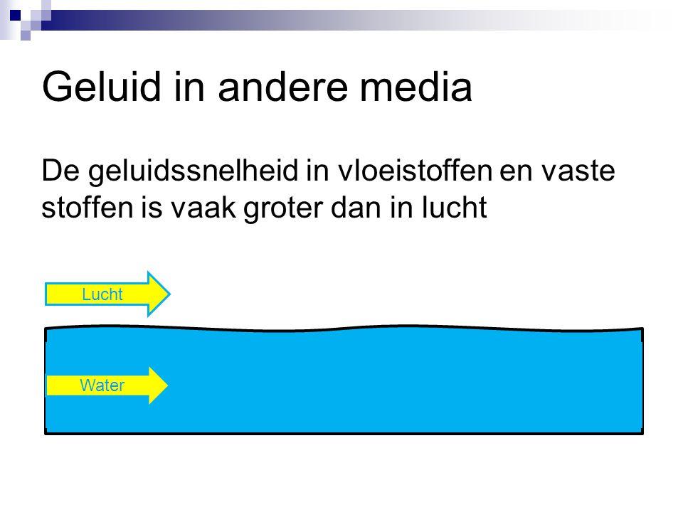 Geluid in andere media De geluidssnelheid in vloeistoffen en vaste stoffen is vaak groter dan in lucht.