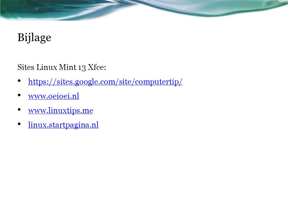 Bijlage Sites Linux Mint 13 Xfce: