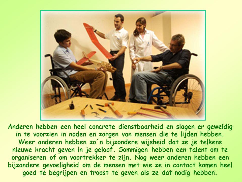 Anderen hebben een heel concrete dienstbaarheid en slagen er geweldig in te voorzien in noden en zorgen van mensen die te lijden hebben.