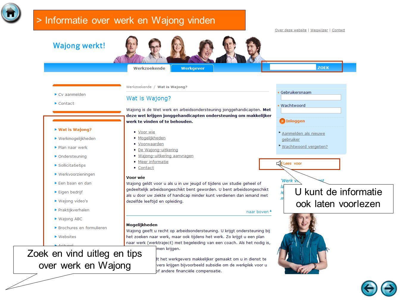 > Informatie over werk en Wajong vinden