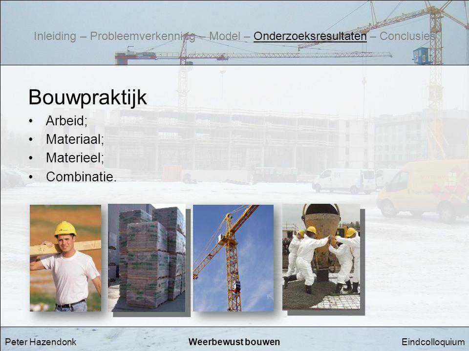 Bouwpraktijk Arbeid; Materiaal; Materieel; Combinatie.