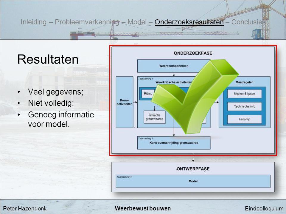 Resultaten Veel gegevens; Niet volledig; Genoeg informatie voor model.