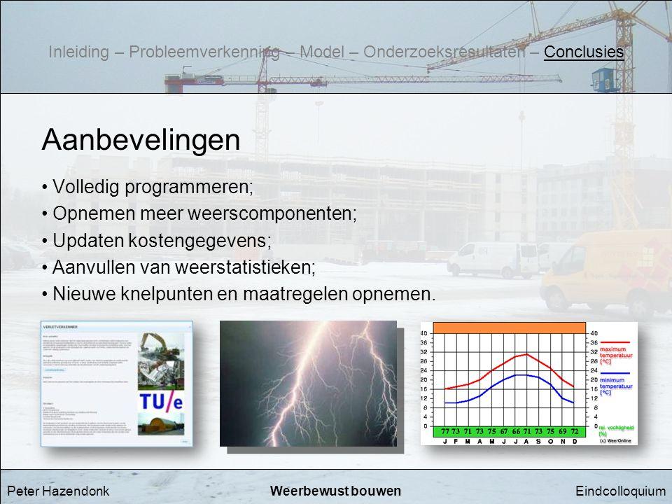 Aanbevelingen Volledig programmeren; Opnemen meer weerscomponenten;
