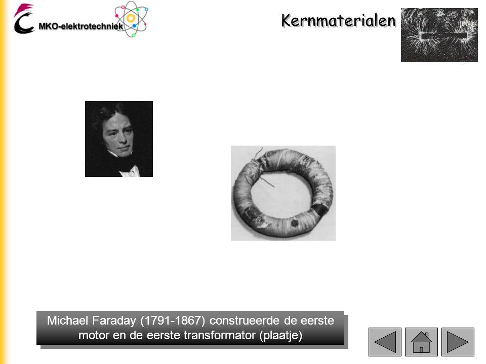 Kernmaterialen Michael Faraday (1791-1867) construeerde de eerste motor en de eerste transformator (plaatje)