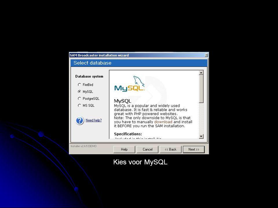 Kies voor MySQL