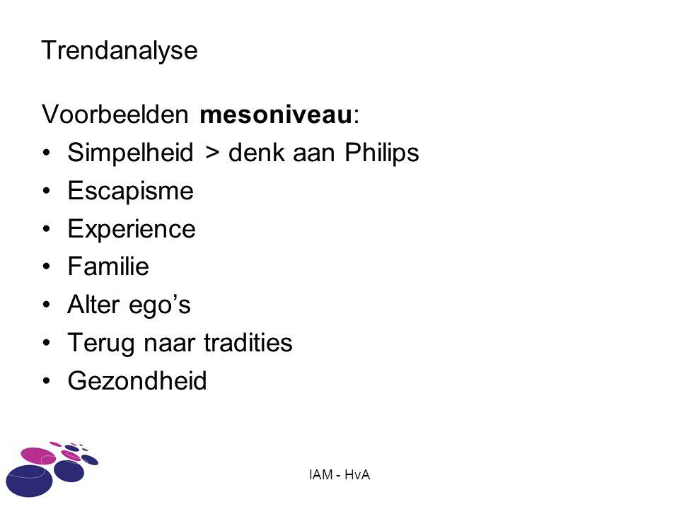 Voorbeelden mesoniveau: Simpelheid > denk aan Philips Escapisme