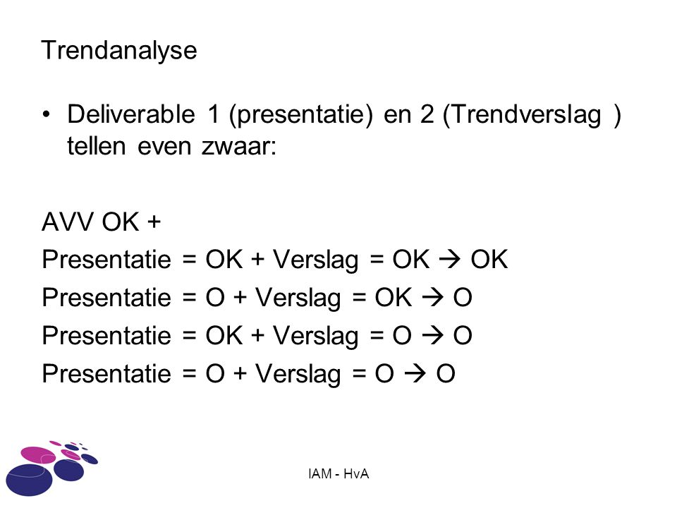 Deliverable 1 (presentatie) en 2 (Trendverslag ) tellen even zwaar: