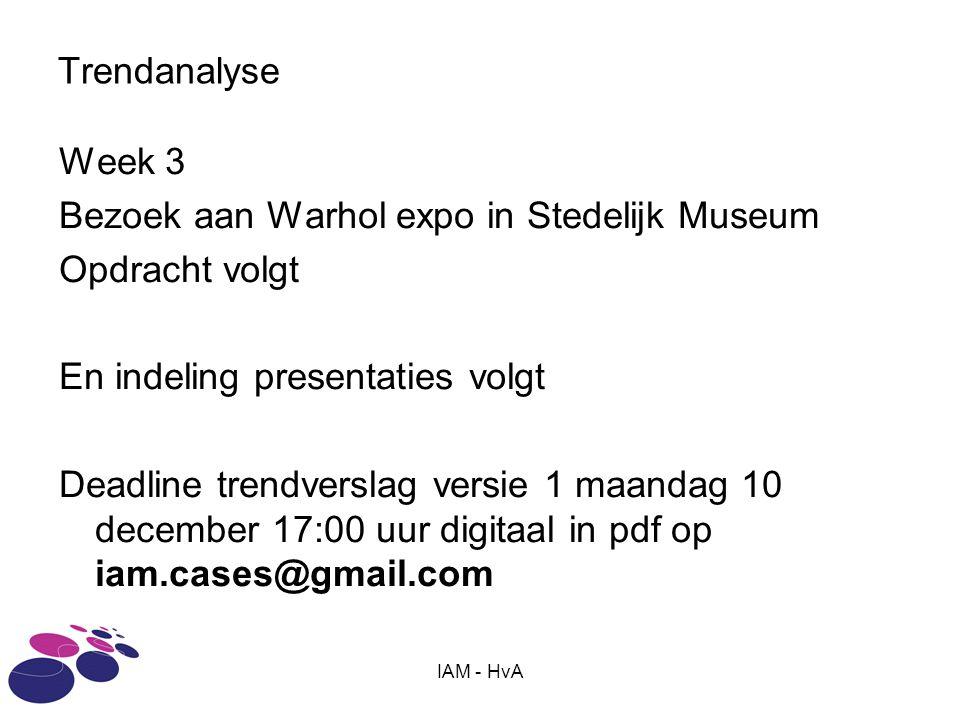 Bezoek aan Warhol expo in Stedelijk Museum Opdracht volgt