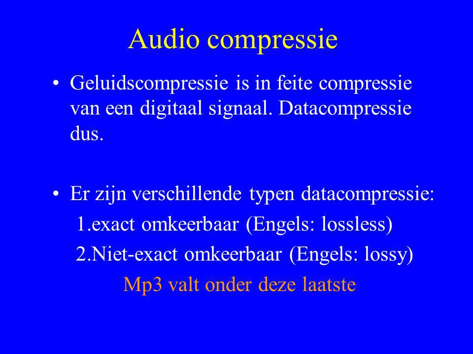 Audio compressie Geluidscompressie is in feite compressie van een digitaal signaal. Datacompressie dus.